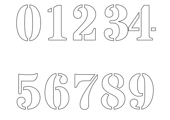 Free printable number stencils for painting for Free number templates to print