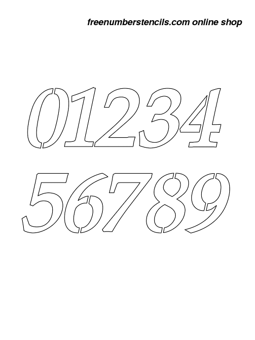 photo regarding Free Printable Number Stencils known as 1 Inch 90s Exquisite Italic Italic Quantity Stencils 0 in the direction of 9